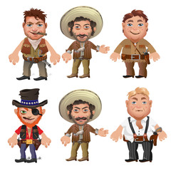 Five men characters in a cartoon wild West style