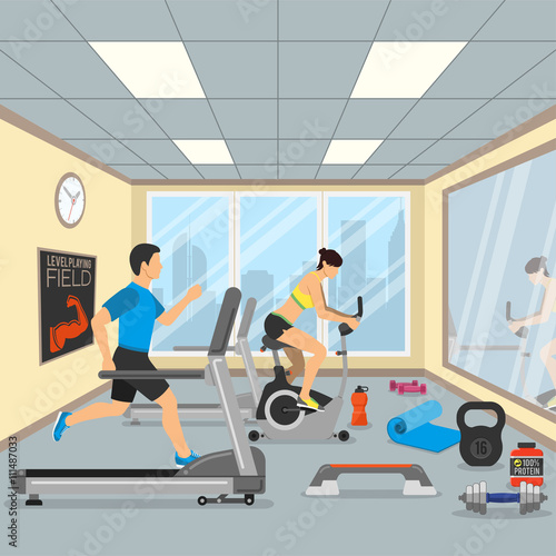 D isometric of gym with different royalty free vector image