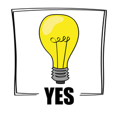 A bright yellow light bulb above the word YES as a concept for ideas and creativity