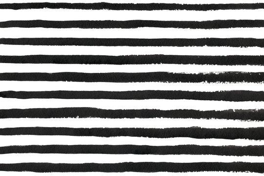 Watercolor black stripe grunge pattern.