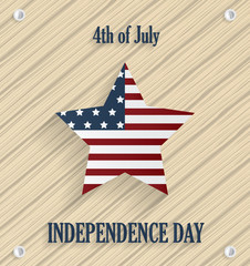 Independence day poster. Wooden background with star. 4th of July. Vector illustration.