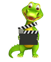 cute Aligator cartoon character  with clapper board