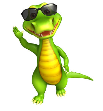 cute Aligator cartoon character with sunglass