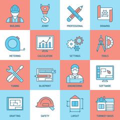 Engineering And Blueprint Icons Set