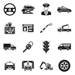 Driver Black White Icons Set