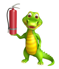 cute Aligator cartoon character with fire extingusher