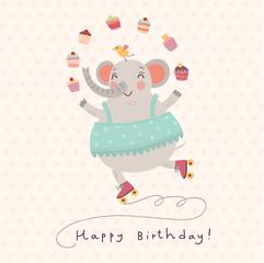 cute elephant. vector card