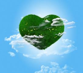 green heart on a blue background.