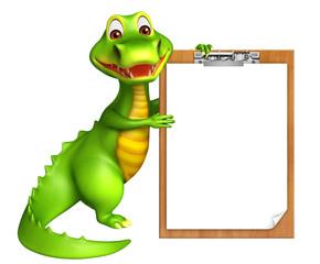 cute Aligator cartoon character with exam pad