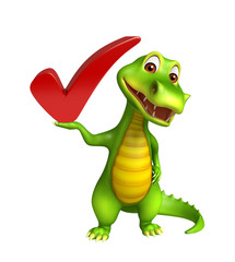 cute Aligator cartoon character with right sign
