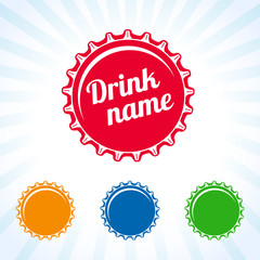 Bottle cover colored icon. Colorful bottle caps vector design for juice, water, cola and soda drink. Drink lid design