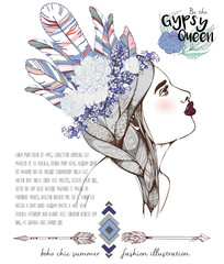 Vector fashion illustration of bohemian woman with headpiece of feathers, lavender and peonies. Decorated with traditional boho geometry and arrows. Trendy color Rose quartz and Serenity. Gypsy Queen.