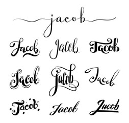 Personal name Jacob. Vector handwritten calligraphy set. Handmade lettering collection