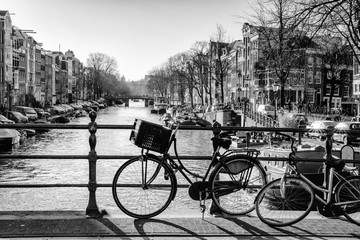 Bicycles on a bridge in Amsterdam city center
