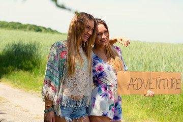 female twins. vacation concept. independent travel