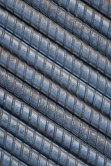 Closeup steel rebar used in construction concrete , Shooting for background or texture