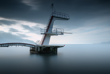 Diving board, Neuchatel, Switzerland