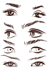 Set of woman eyes, lips, eyebrows and noses as black sketching design elements. Vector