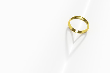 3d render of golden rings with heart shadow isolated on white ba