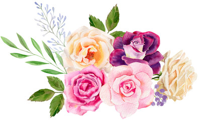 hand painted watercolor mockup clipart template of roses