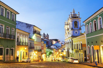 Colourful colonial houses at the historical district of Pelourinho in Salvador, Bahia, Brazil.
