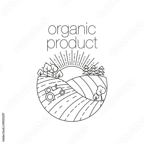 Organic product round outline icon for food drink and restaurants