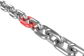 3d render stainless steel chain