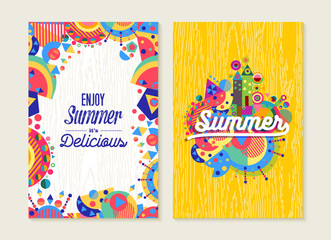 Enjoy summer set of poster or card with modern art