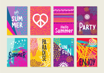 Colorful summer card set with beach illustrations