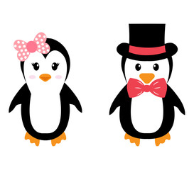 penguin girl and boy with hat