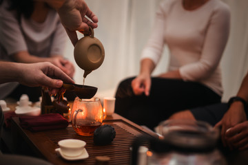 Asian tea ceremony on the wooden table