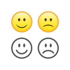 Happy and sad emoticons