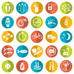 Set of flat vector icons with tips for losing weight isolated on white. Sport, diet and healthy lifestyle