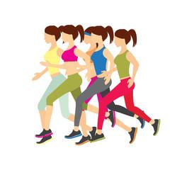 Running girls vector illustration