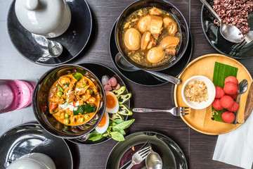 Thai Food: Flat lay of Panang (Thai Red Curry), Palo (Thai Five