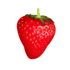 Isolated one red strawberry