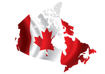 Vector Canada flag blowing in the wind in Canada map shape