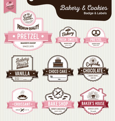 Set of sweet bakery and bread labels design for sweets shop, bakery shop, cake shop, restaurant, bake shop. Vector illustration.