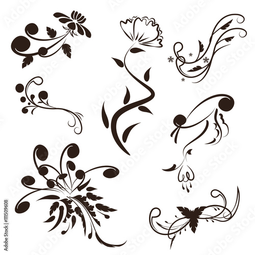 Vector Set Of Floral Calligraphic Swirl Designs Elements