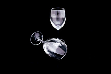 Two empty wine Glass, Champagne Glass on black - vertical and horizon Glass