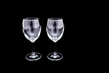 Group of empty wine Glass, Champagne Glass on black and copy space