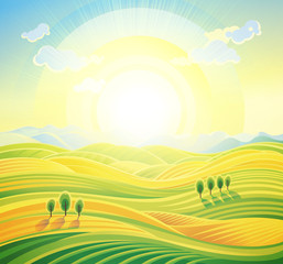 Foto op Textielframe Geel Landscape background. Summer sunrise rural landscape with rolling hills and fields.