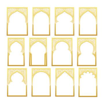 Gold Design Arab windows for Ramadan Kareem Template
