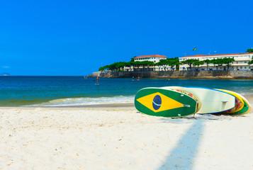 Surfboards on the Copacabana beach in Rio de Janeiro. Brazil