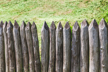 Defensive fence sharp logs