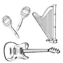 musical instruments set on white background. Vector illustration.