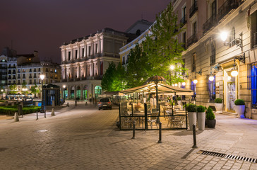 Old square in Madrid at night. Spain