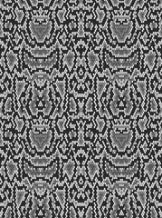 Snake python skin texture. Seamless pattern black on white background.