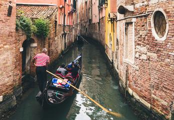 Foto auf AluDibond Venedig Canal with gondola in Venice, Italy