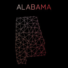 Alabama network map. Abstract polygonal US state map design. Network connections vector illustration.